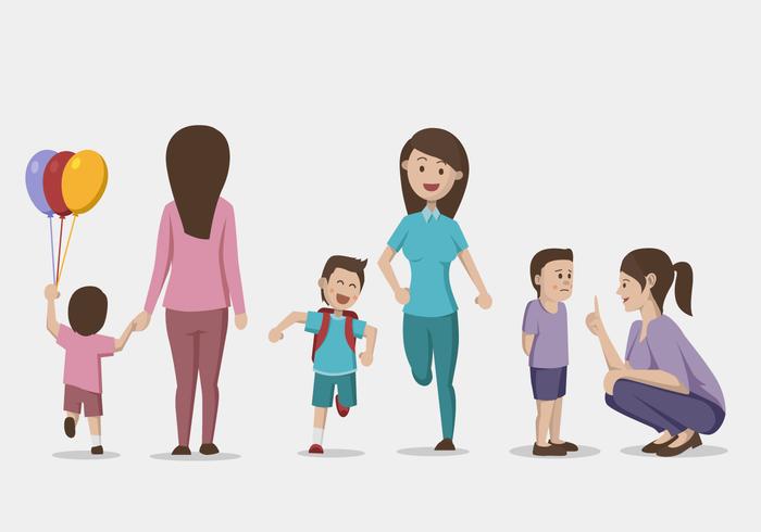 Mamma och barn vektor illustration