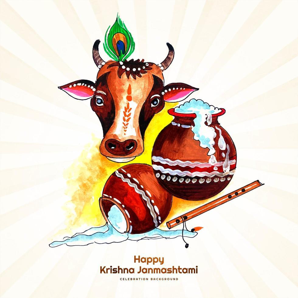 indisk festival för janmashtami firande kort vektor