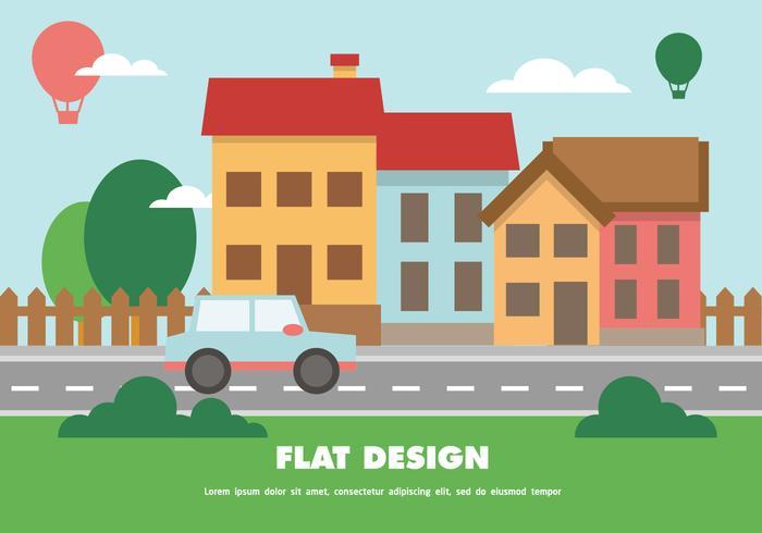 Platt Happy Cityscape Vector Bakgrund