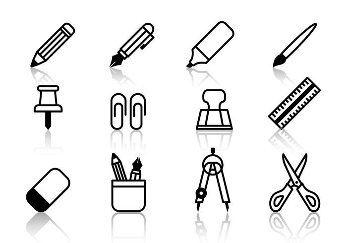 Free Student Stationery Icons Vektor