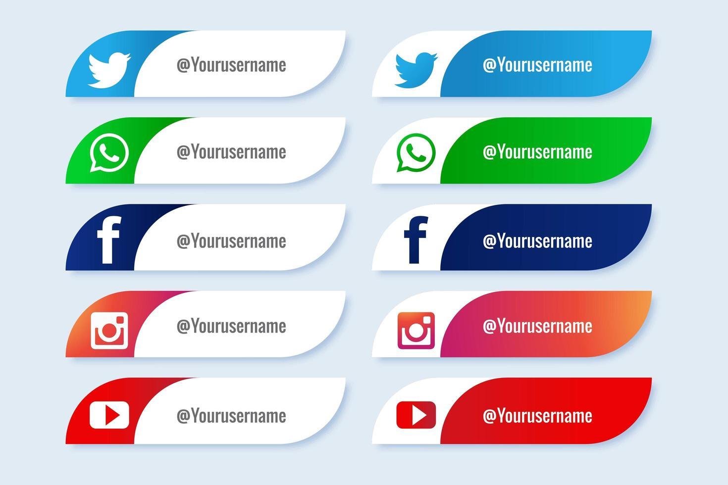 populära sociala medier böjda nedre tredje banneruppsättningen vektor