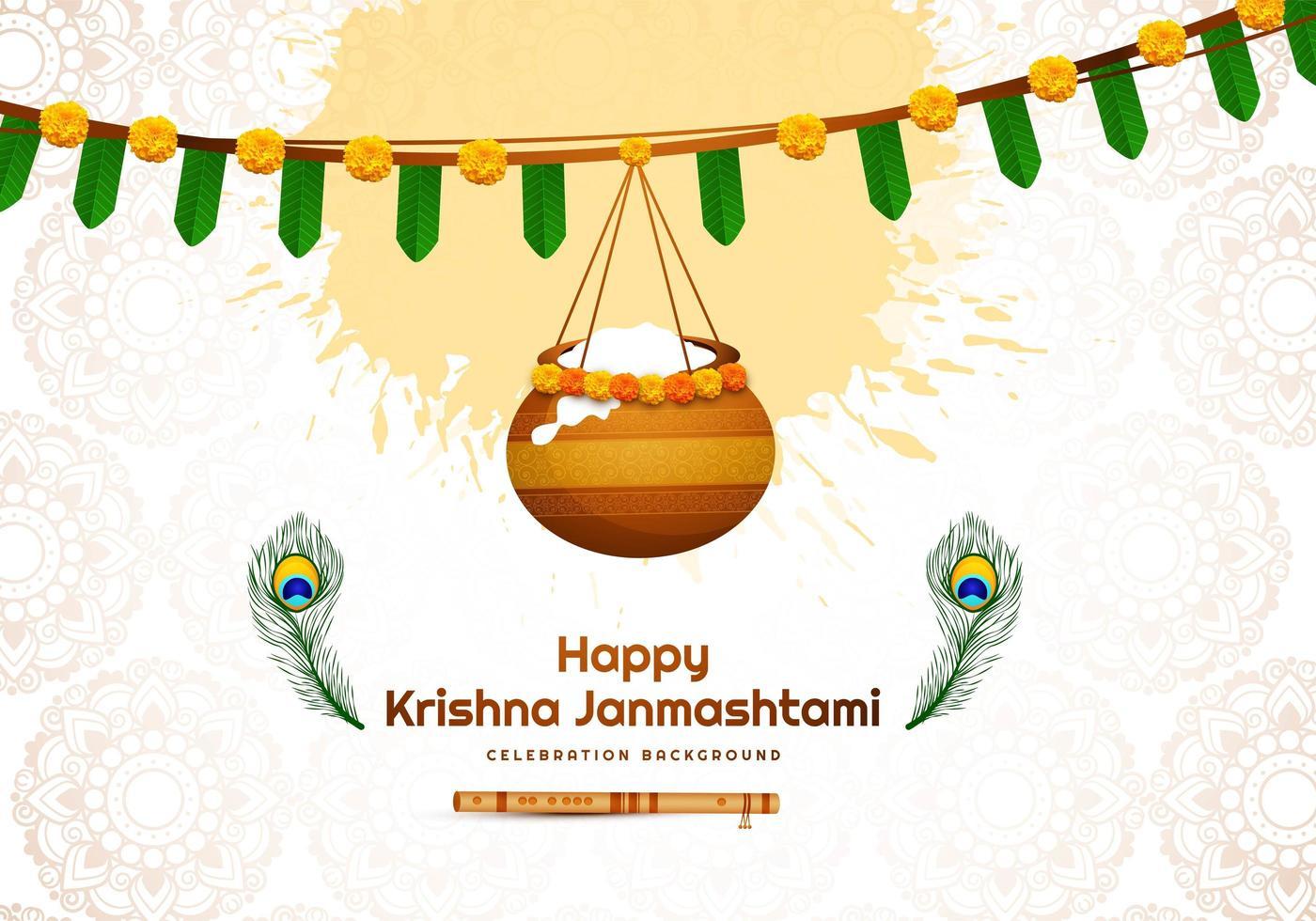 glad janmashtami design med banner och hängande kruka vektor
