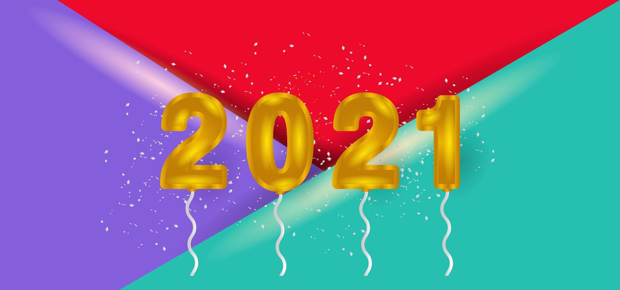gyllene 2021 ballonger på färgglada glansiga trianglar vektor