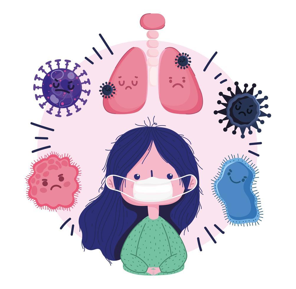 covid 19-viruspandemi med tjej med mask och bakterier vektor