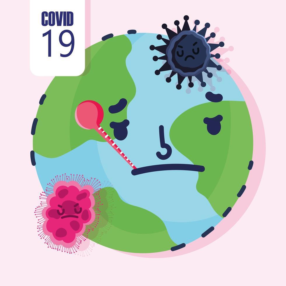 covid 19-pandemi med sjuk planetjorden vektor