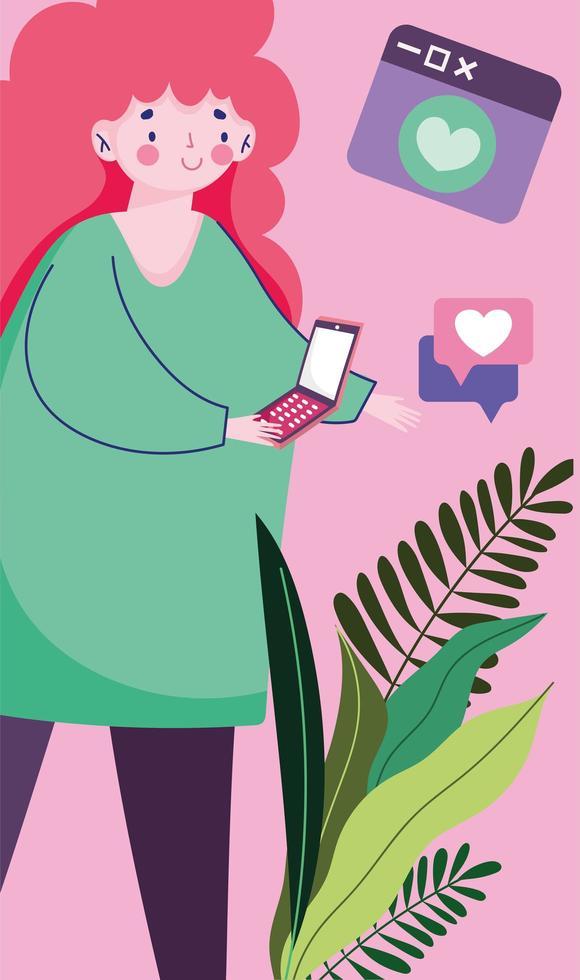 ung kvinna med smartphone pratbubblan romantisk textning vektor