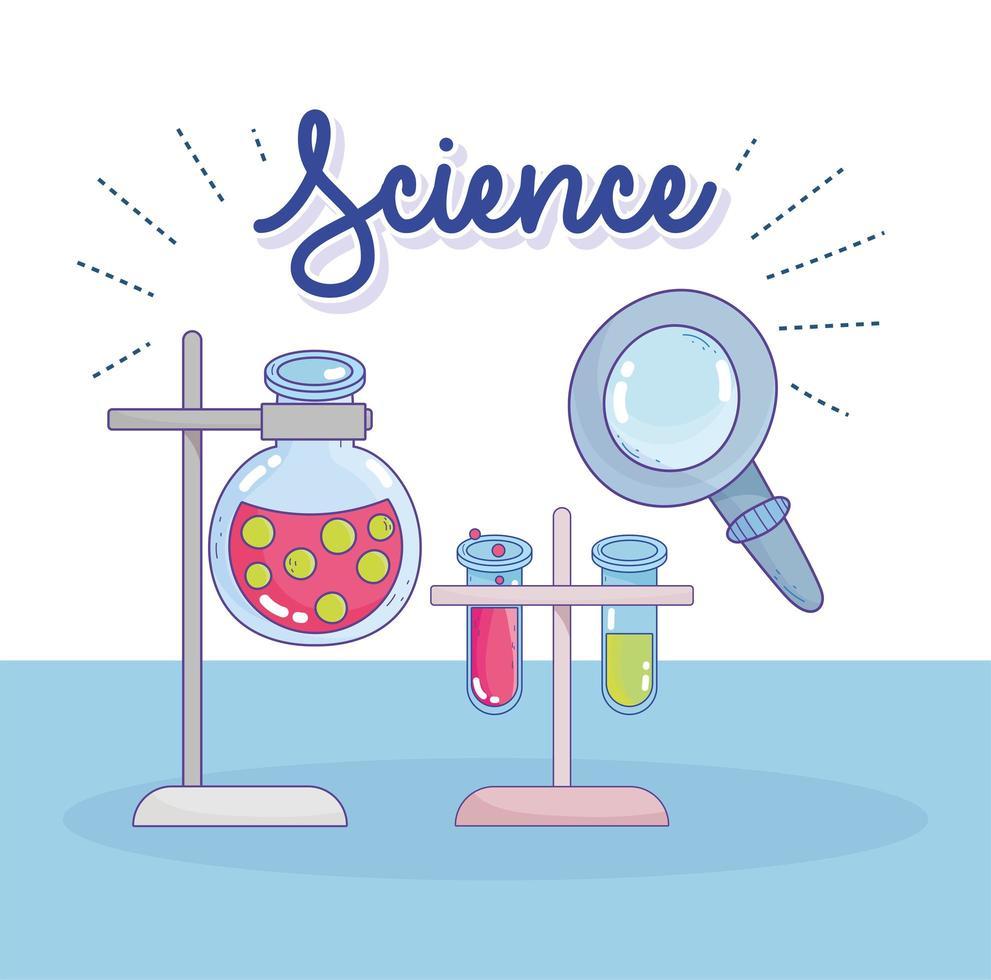 Wissenschaft Chemie Labor Kolben und Röhrchen Griff Stand Analyse Forschungslabor vektor