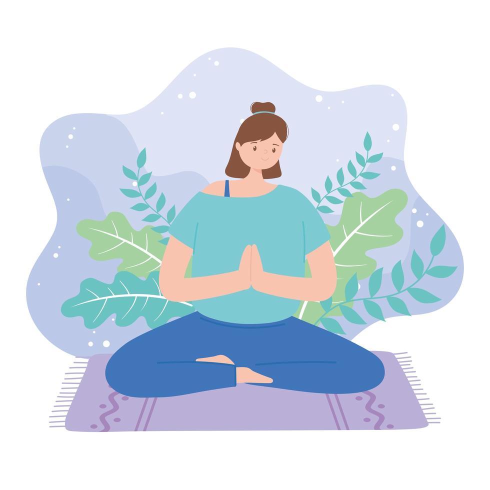 Frau, die Yoga-Posenübung praktiziert vektor