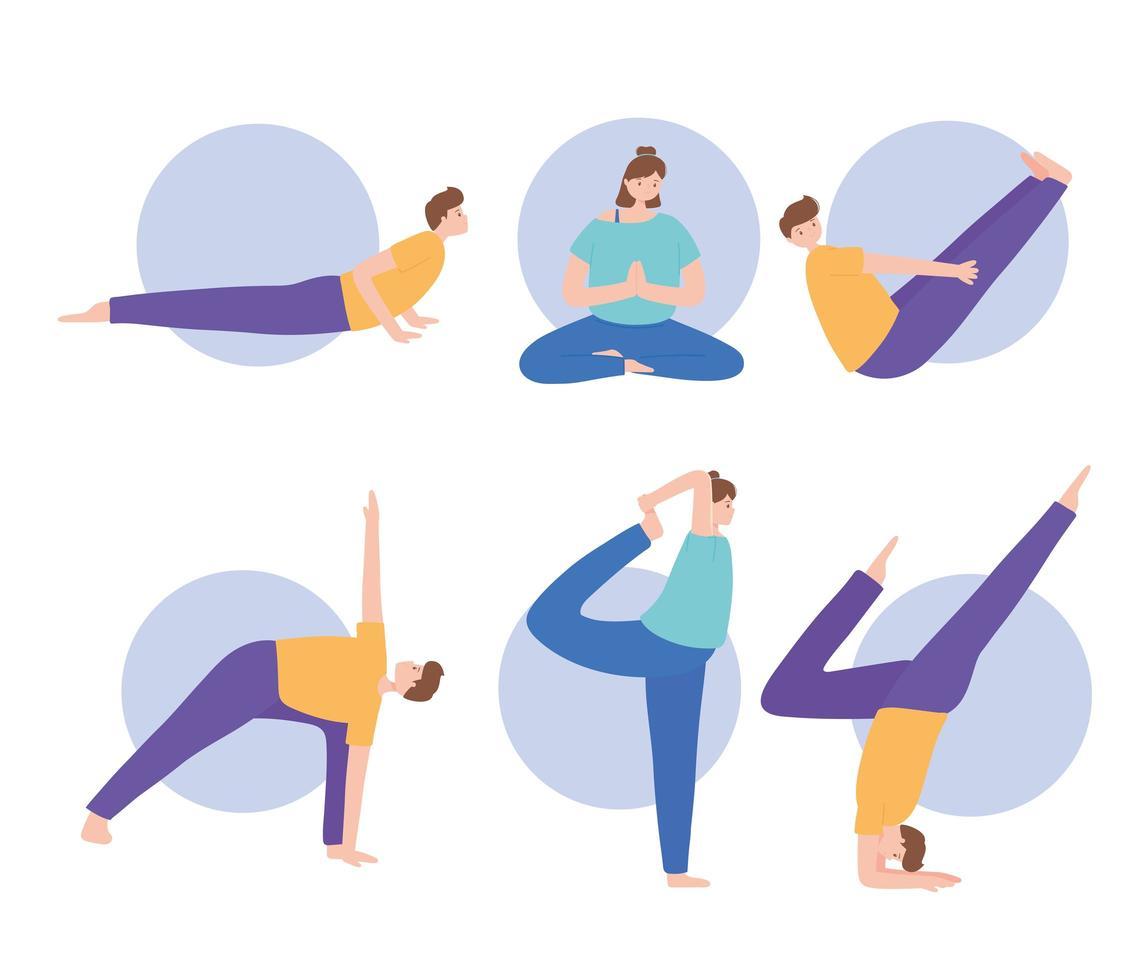 Menschen, die Yoga praktizieren, verschiedene Übungen vektor