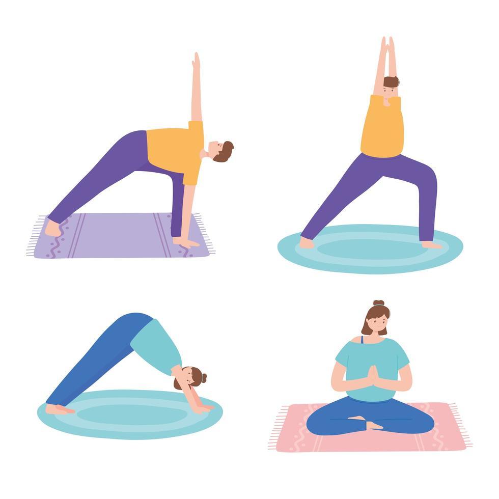 Menschen, die Yoga praktizieren, verschiedene Übungsposen vektor