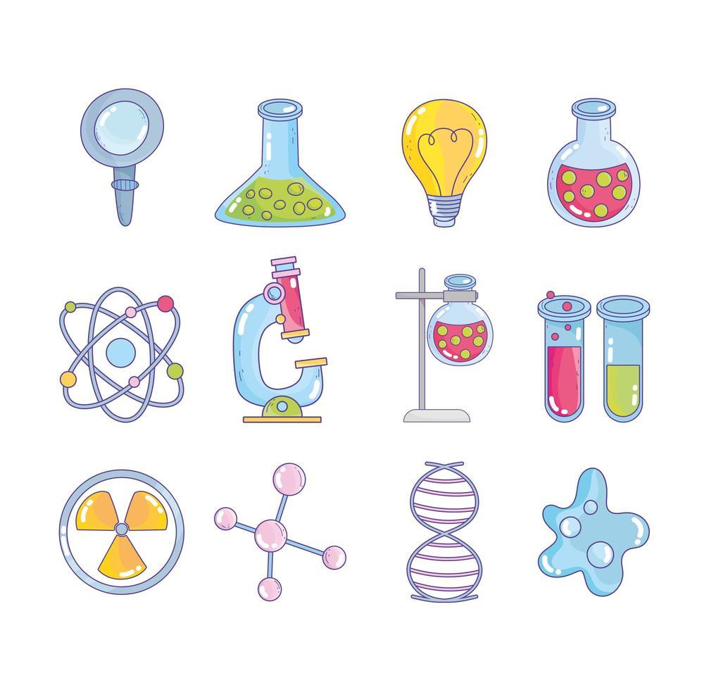 Wissenschaft Forschung Labor Lupe Kolben Atom Molekül DNA vektor