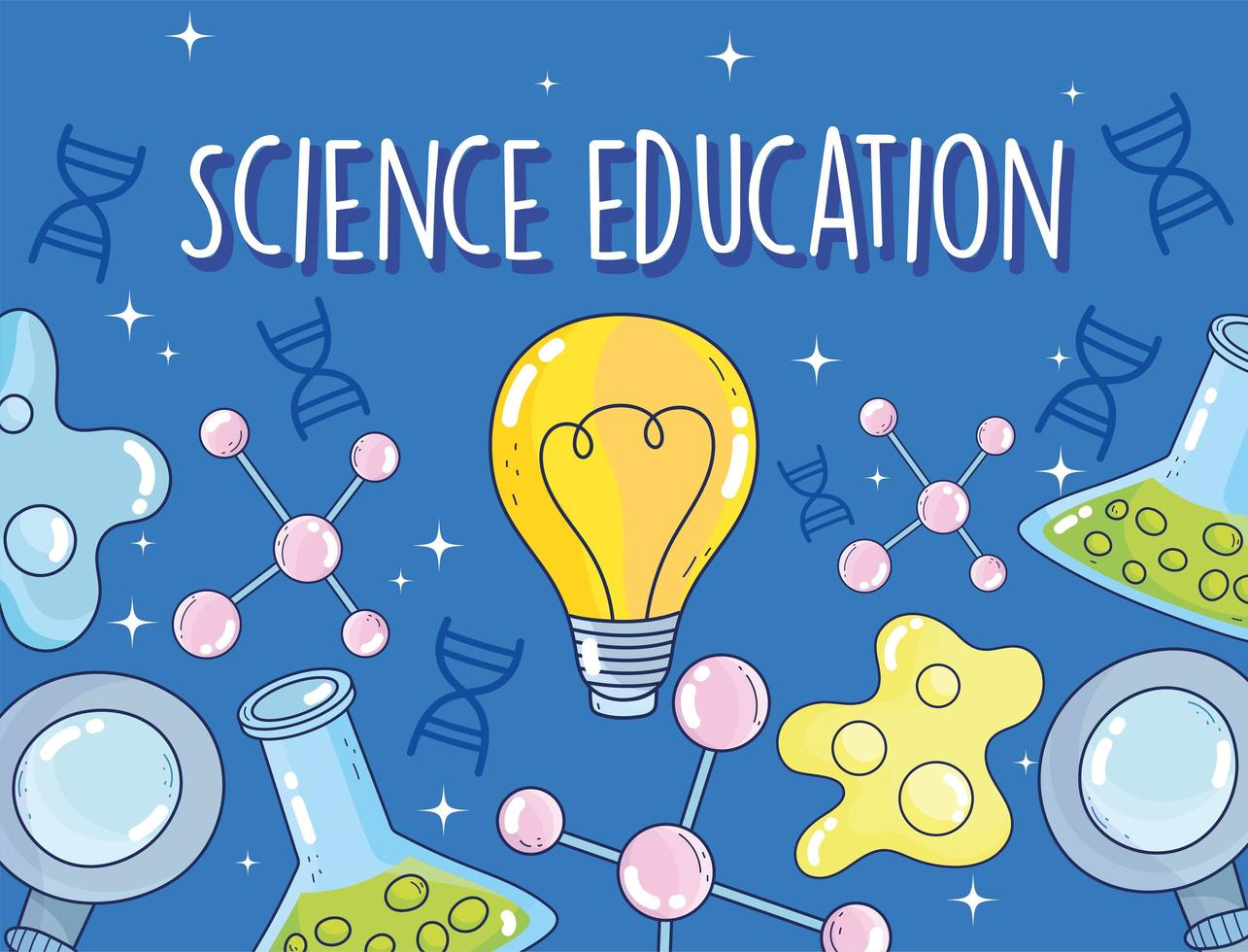 Wissenschaftsausbildung Reagenzglas Chemie Bakterien Atom Lupe Forschungslabor vektor