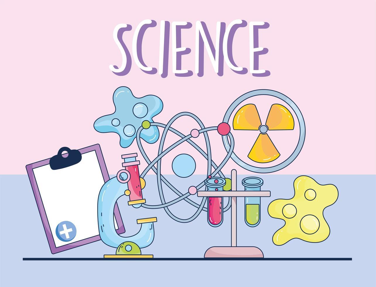 Wissenschaft Mikroskop Medizin Kernatom Molekül Zwischenablage und Bakterien vektor