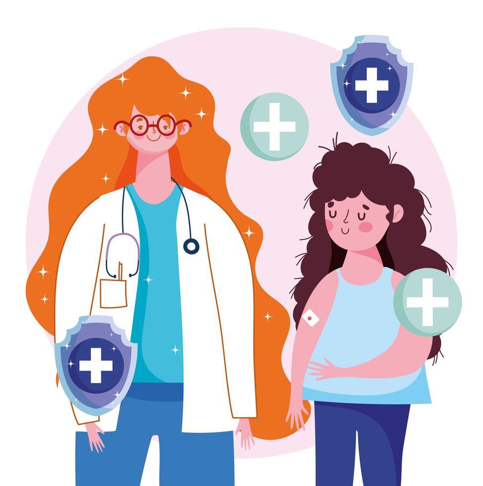 kvinnlig läkare och tjejpatient med bandage på armen vektor