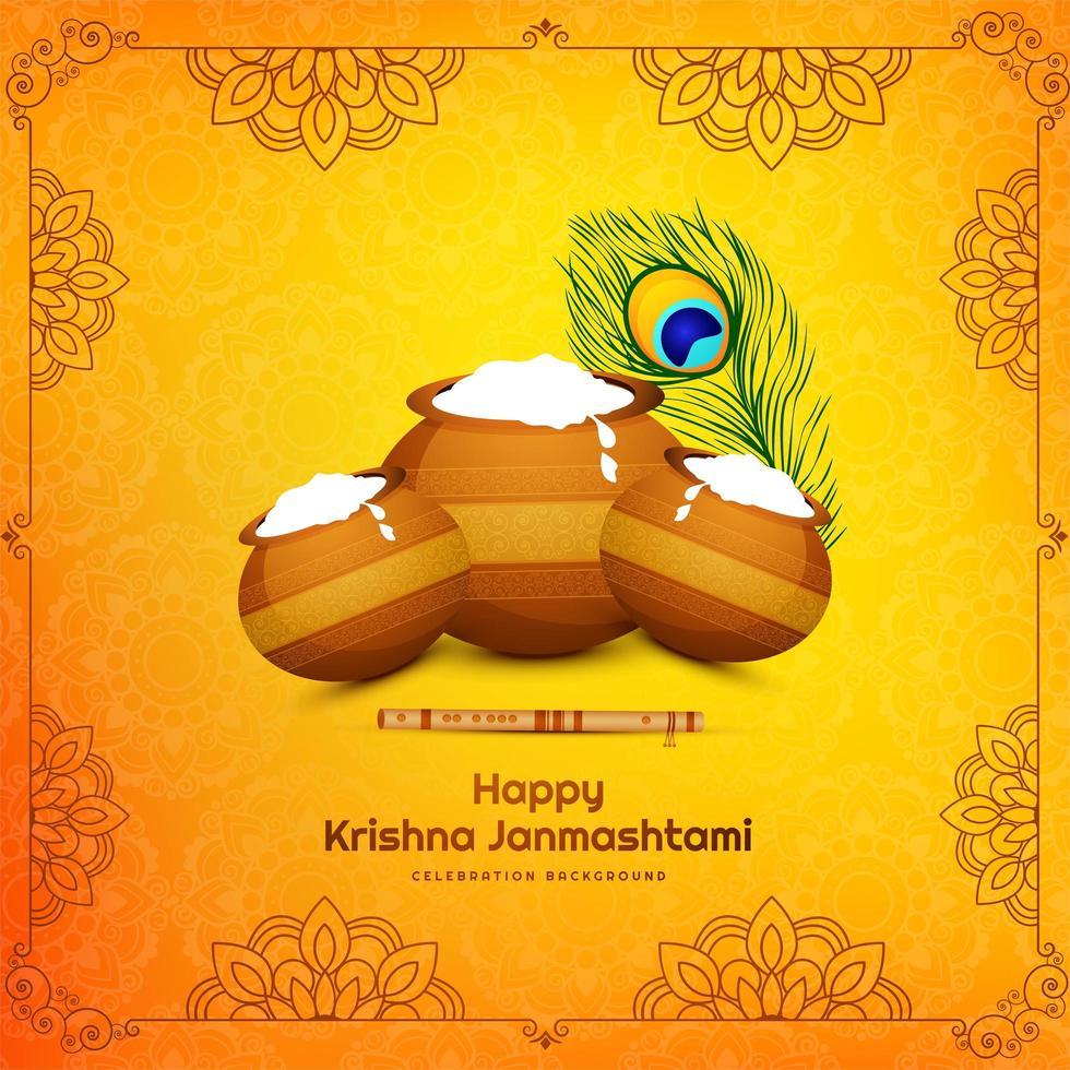 krishna janmashtami festivalkort med tre krukor i elegant ram vektor