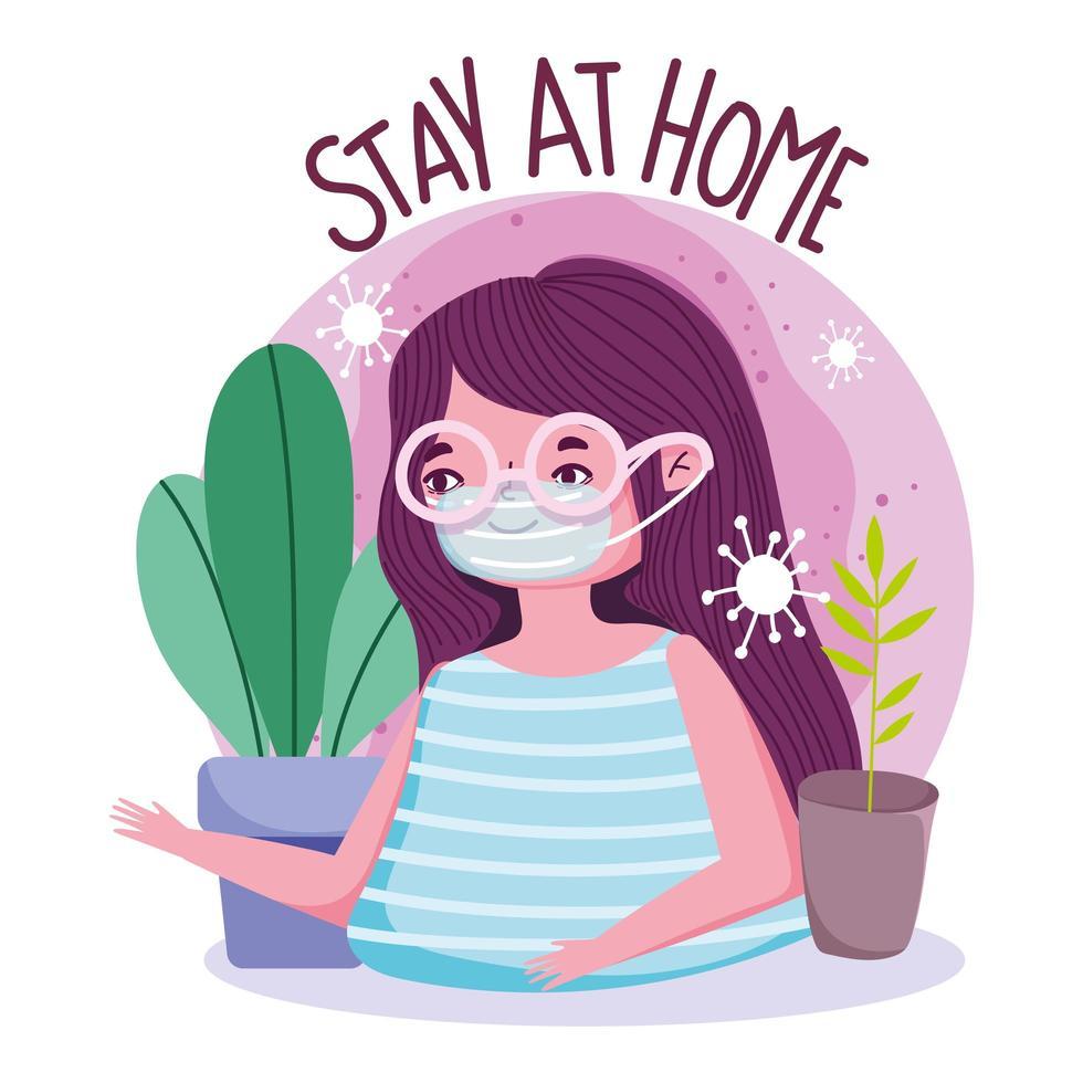 zu Hause bleiben Plakat mit junger Frau mit Maske vektor