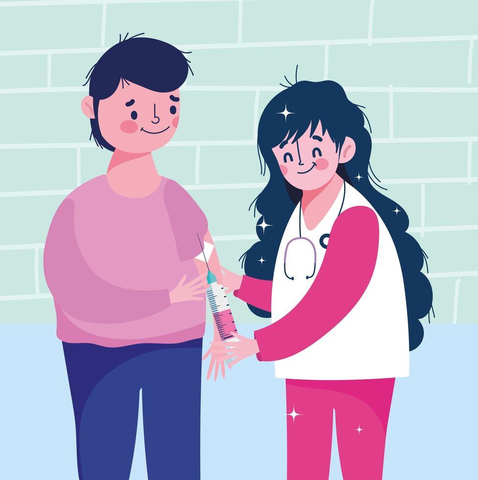 kvinnlig sjuksköterska som ger patientvaccination vektor