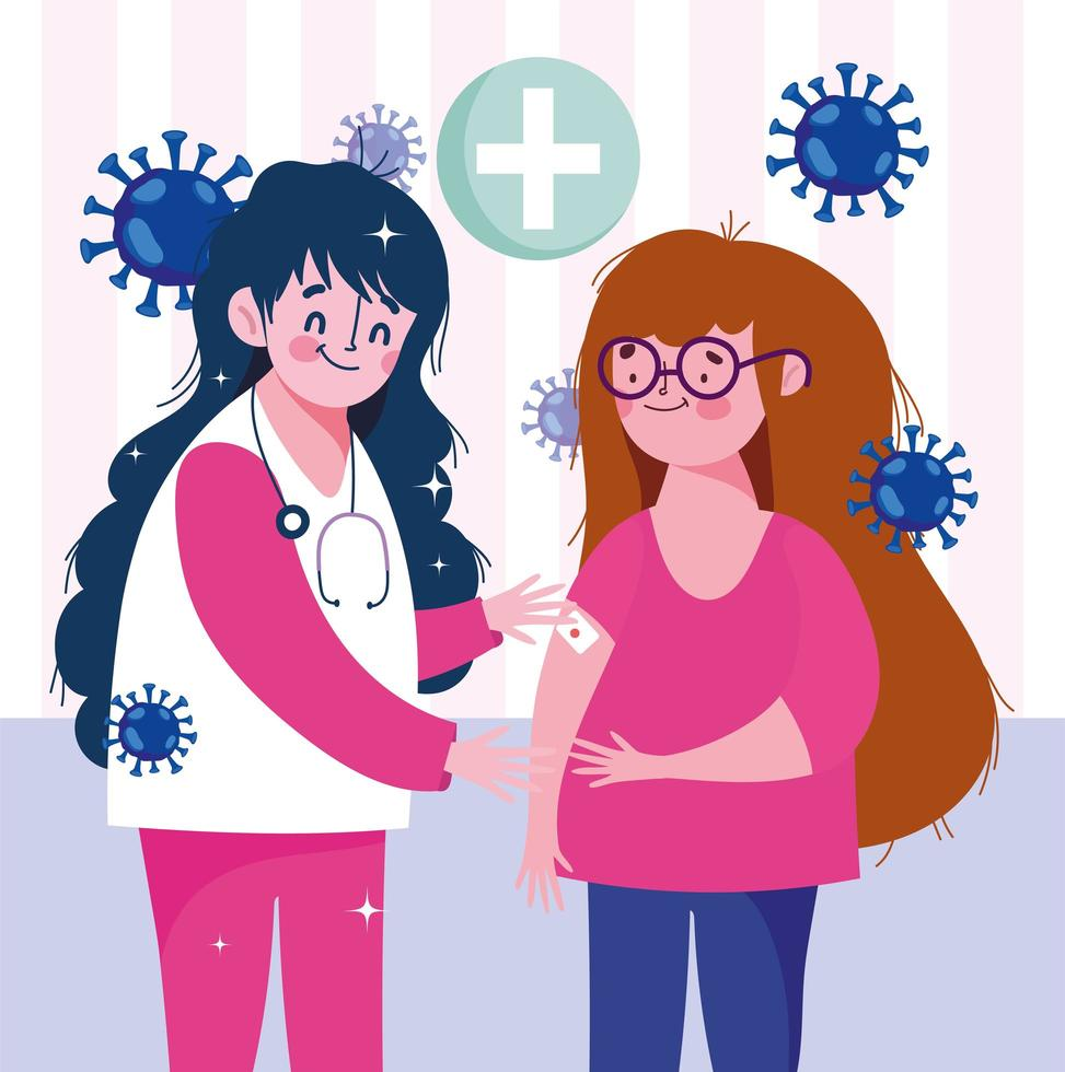 Krankenschwester und Patient mit Verband, umgeben von Viruszellen vektor