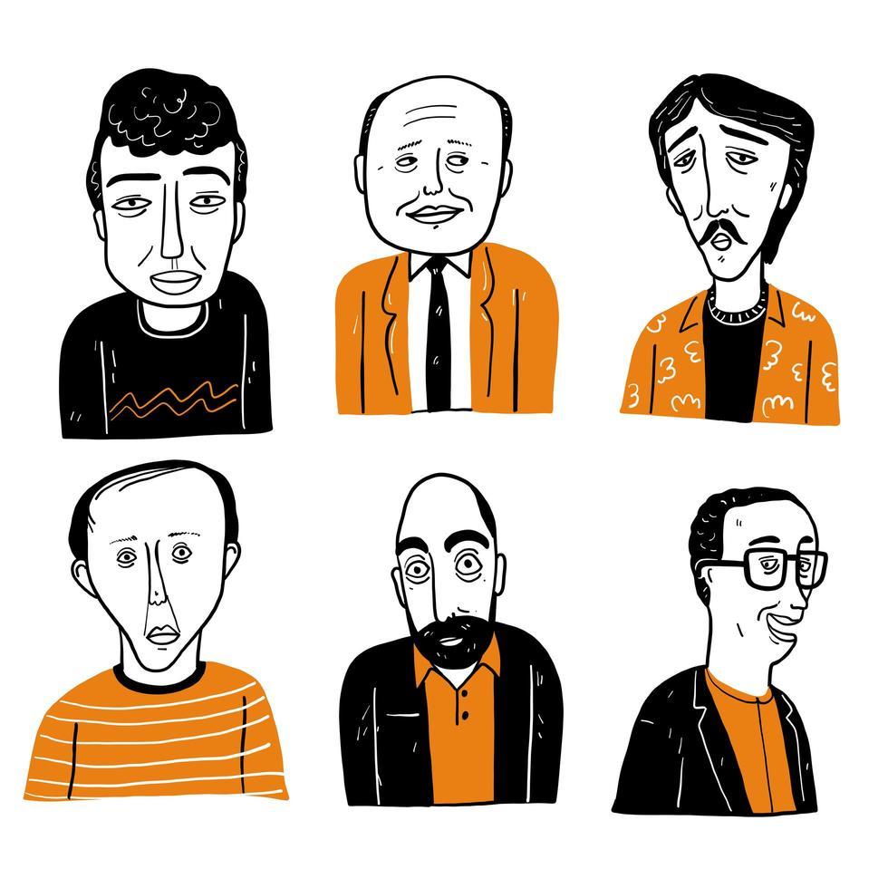 olika ansikten av balande män och män med hår vektor