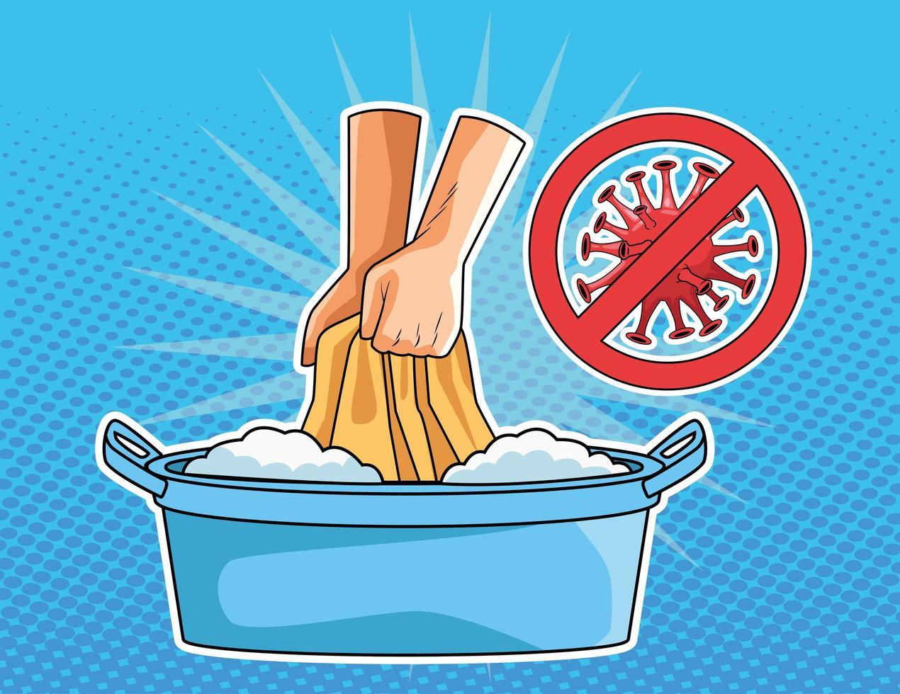 Prävention von Wäsche waschen vektor