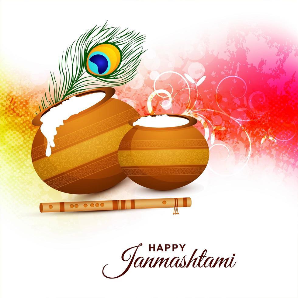 glad janmashtami festival kort med ljus design vektor
