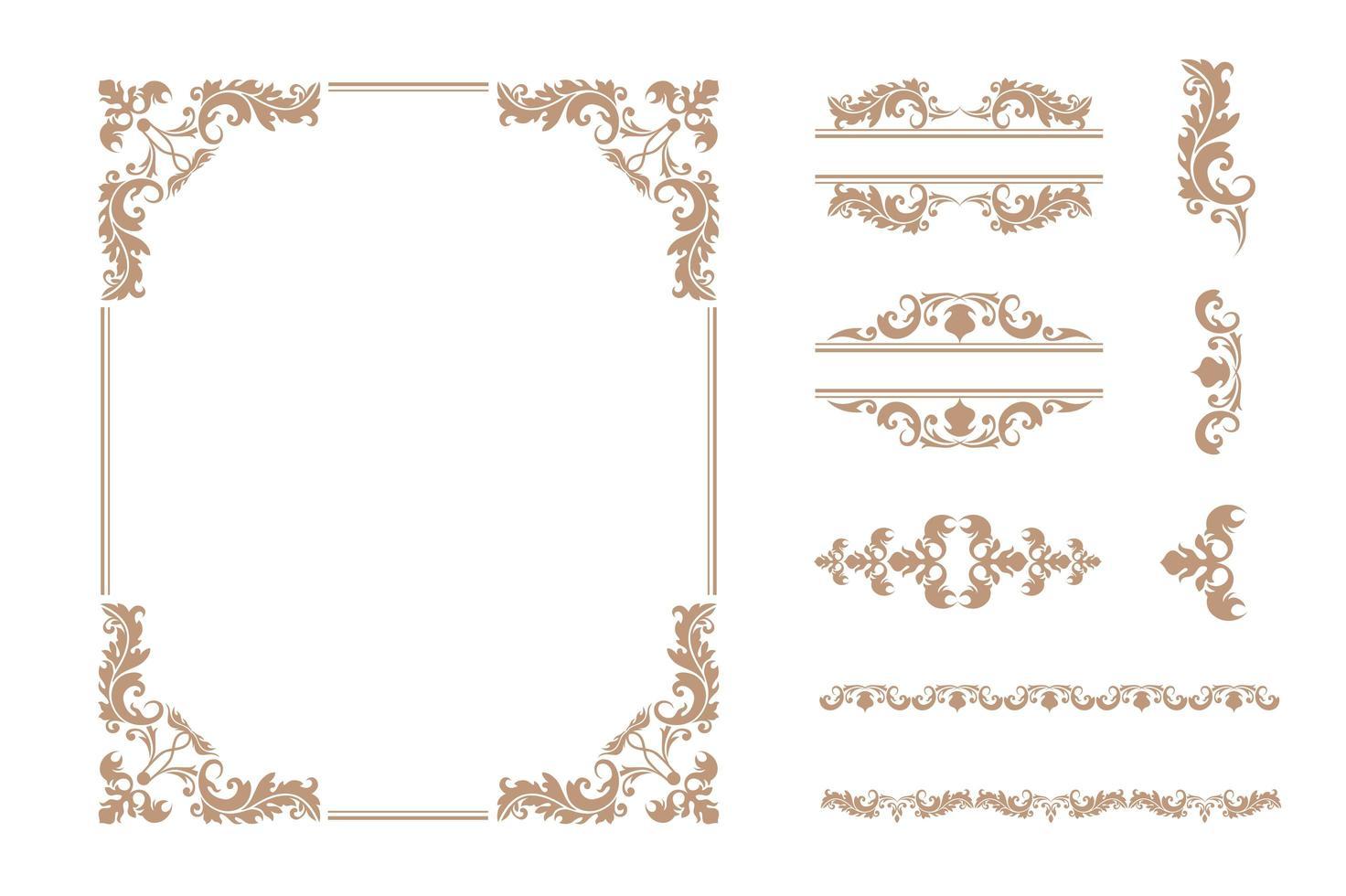 uppsättning klassiska lyxramar och ornament vektor