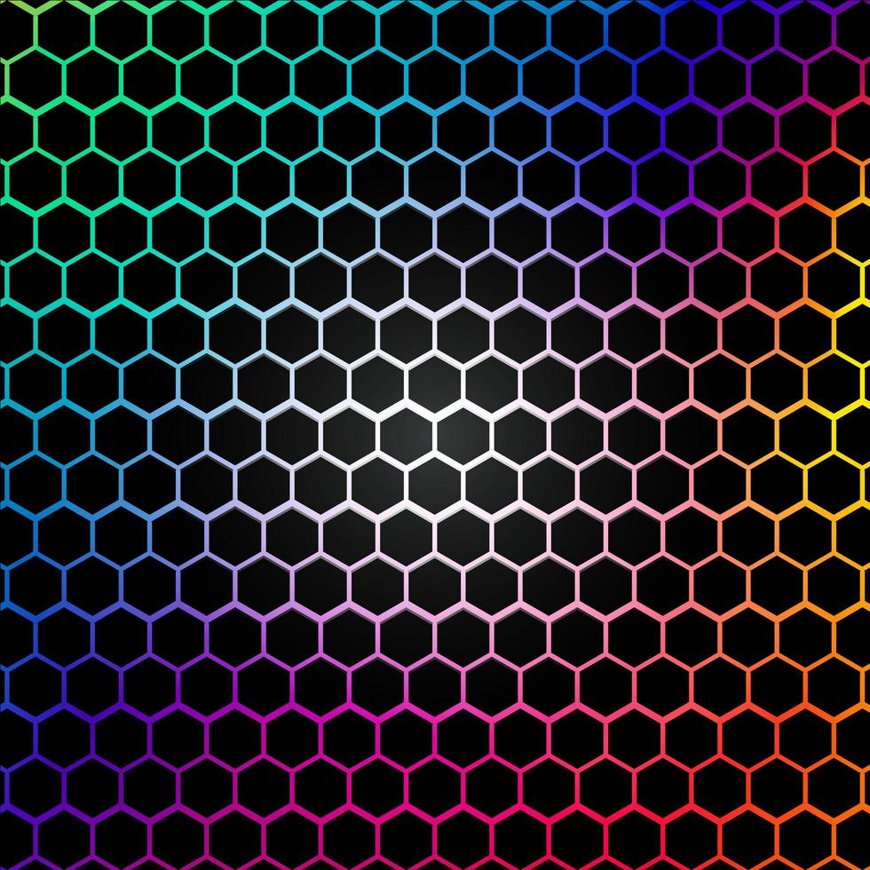 regnbåge hexagon mönster vektor