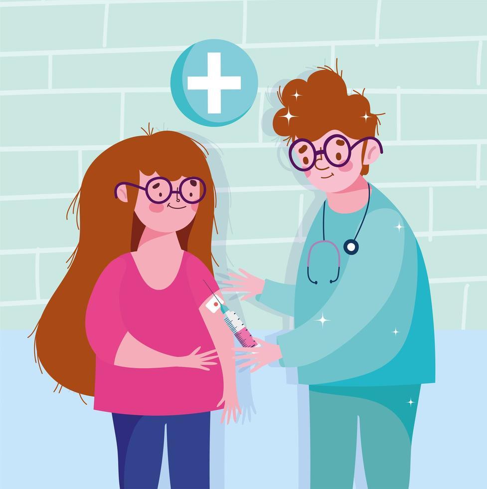 sjuksköterska vaccinerar vaccination mot medicinsk hälsovård för flickor vektor