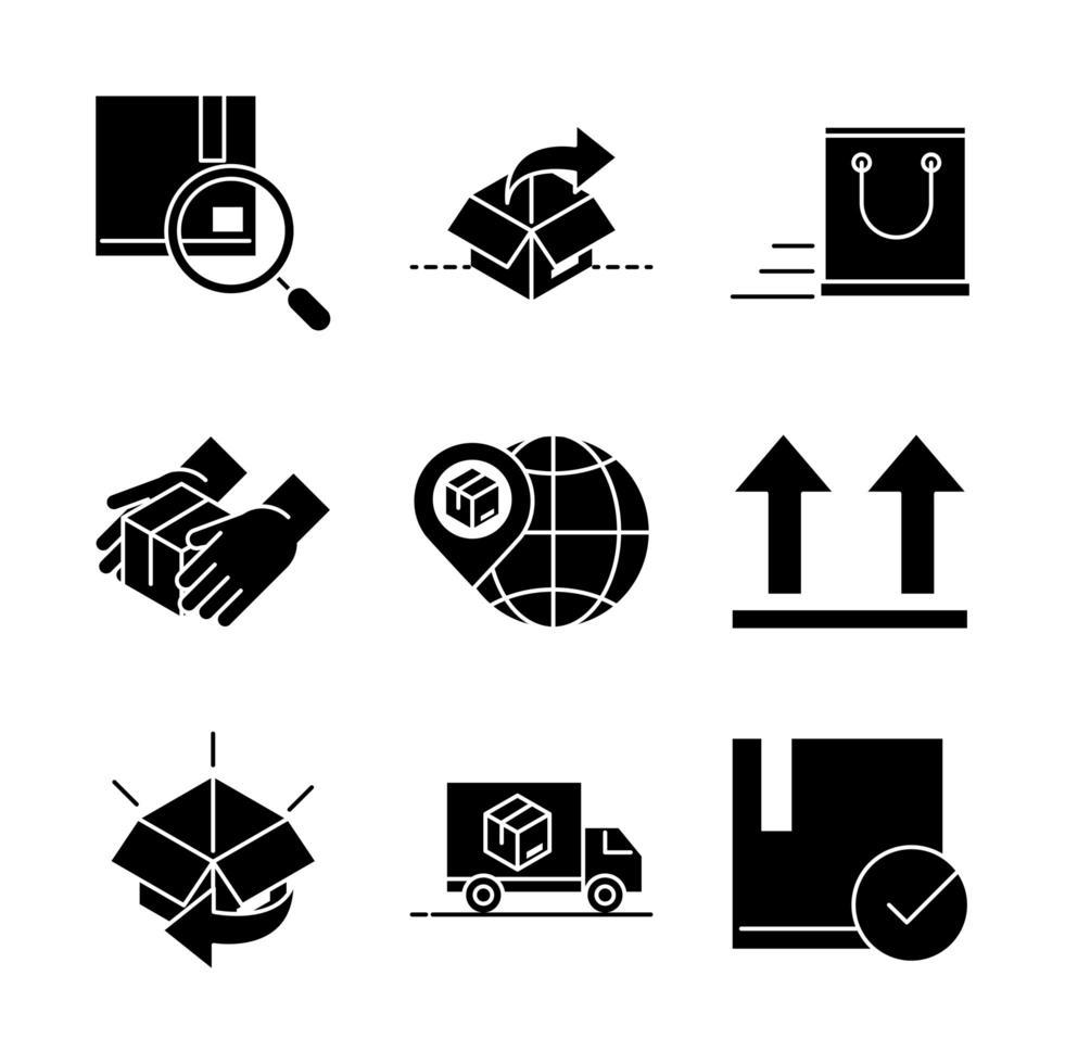leverans och distribution fastställd stil vektor