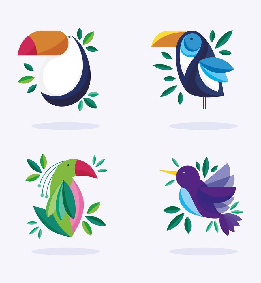 tropiska fåglar uppsättning vektor