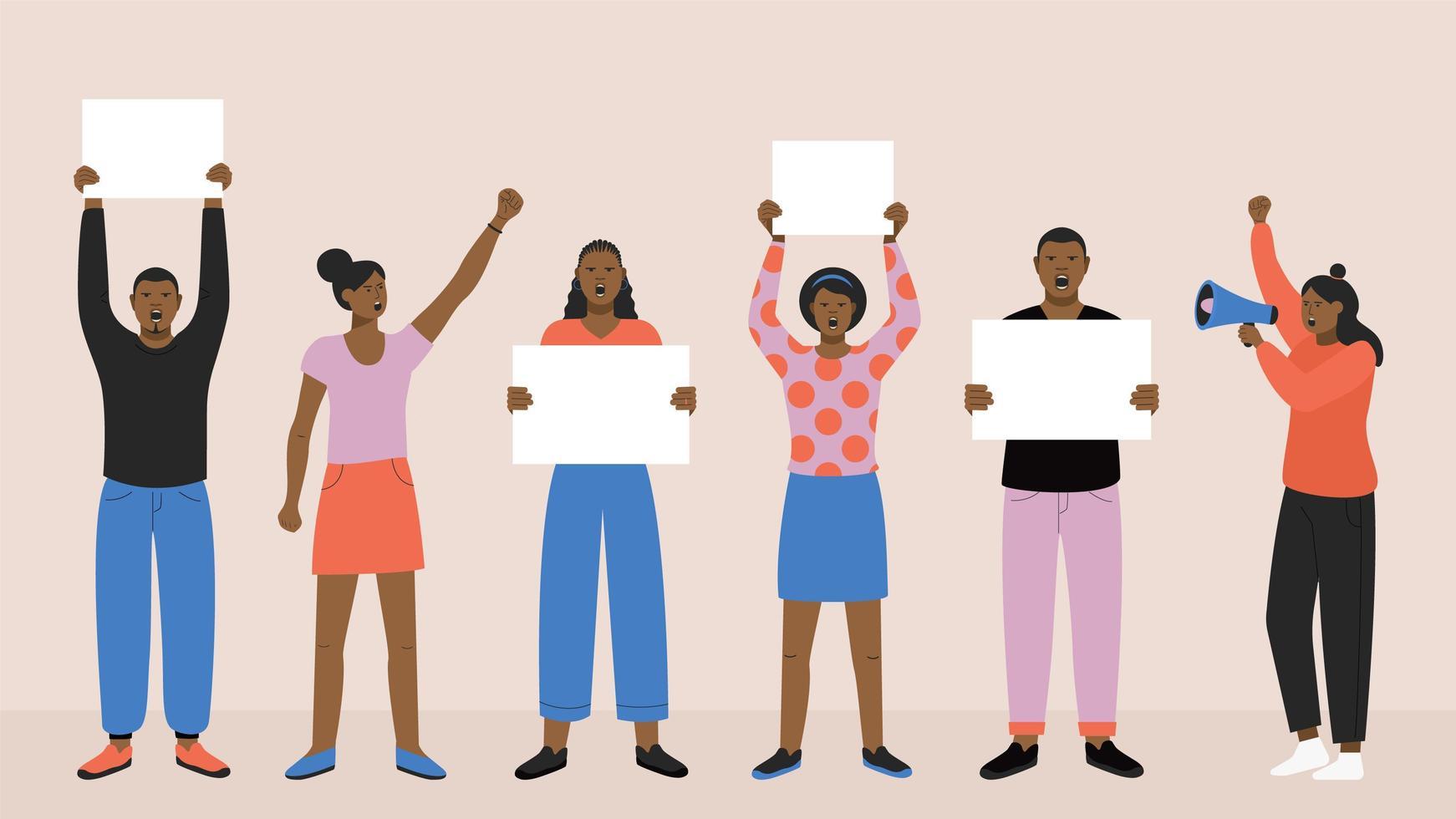 protestierende schwarze Leute, die Banner halten vektor