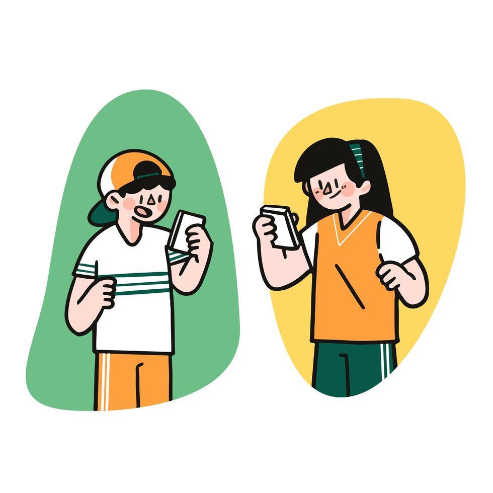 ung pojke och flicka smsar vektor