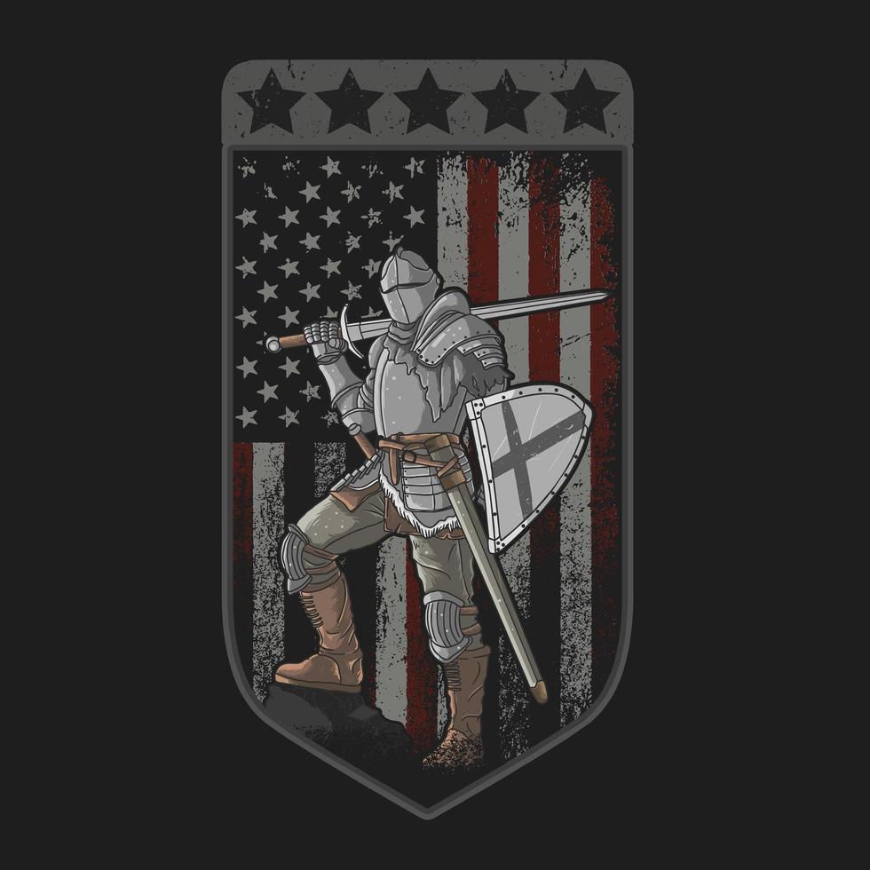 Ritter mit Schwert und Schild mit amerikanischer Grunge-Flagge vektor