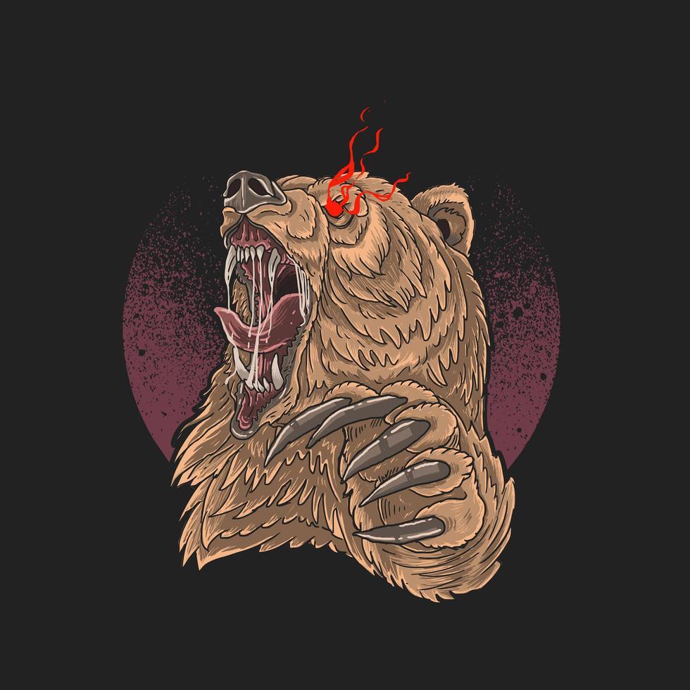 wütender Bär rote Augen und Krallen aus vektor