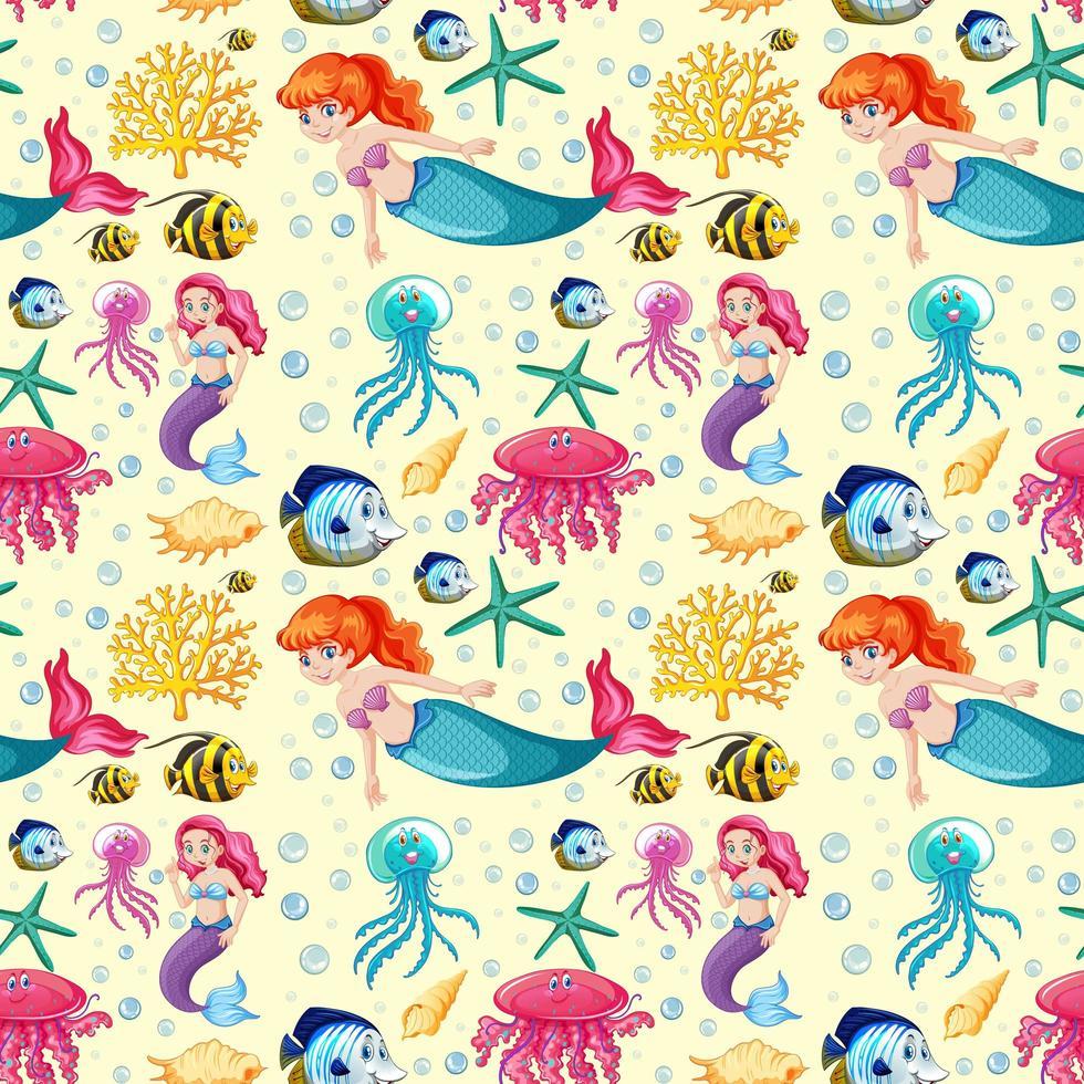 Meerjungfrau und Meerestier Cartoon-Muster vektor