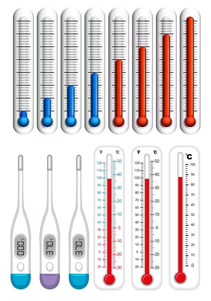termometrar på olika skalor vektor
