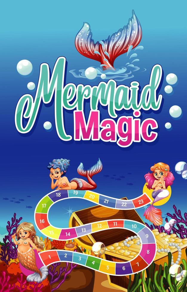 Spielvorlagenentwurf mit Meerjungfrauen und Unterwasserszene vektor