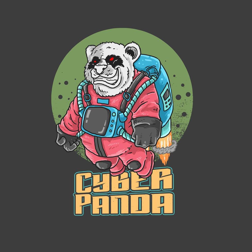 söt panda astronaut vektor