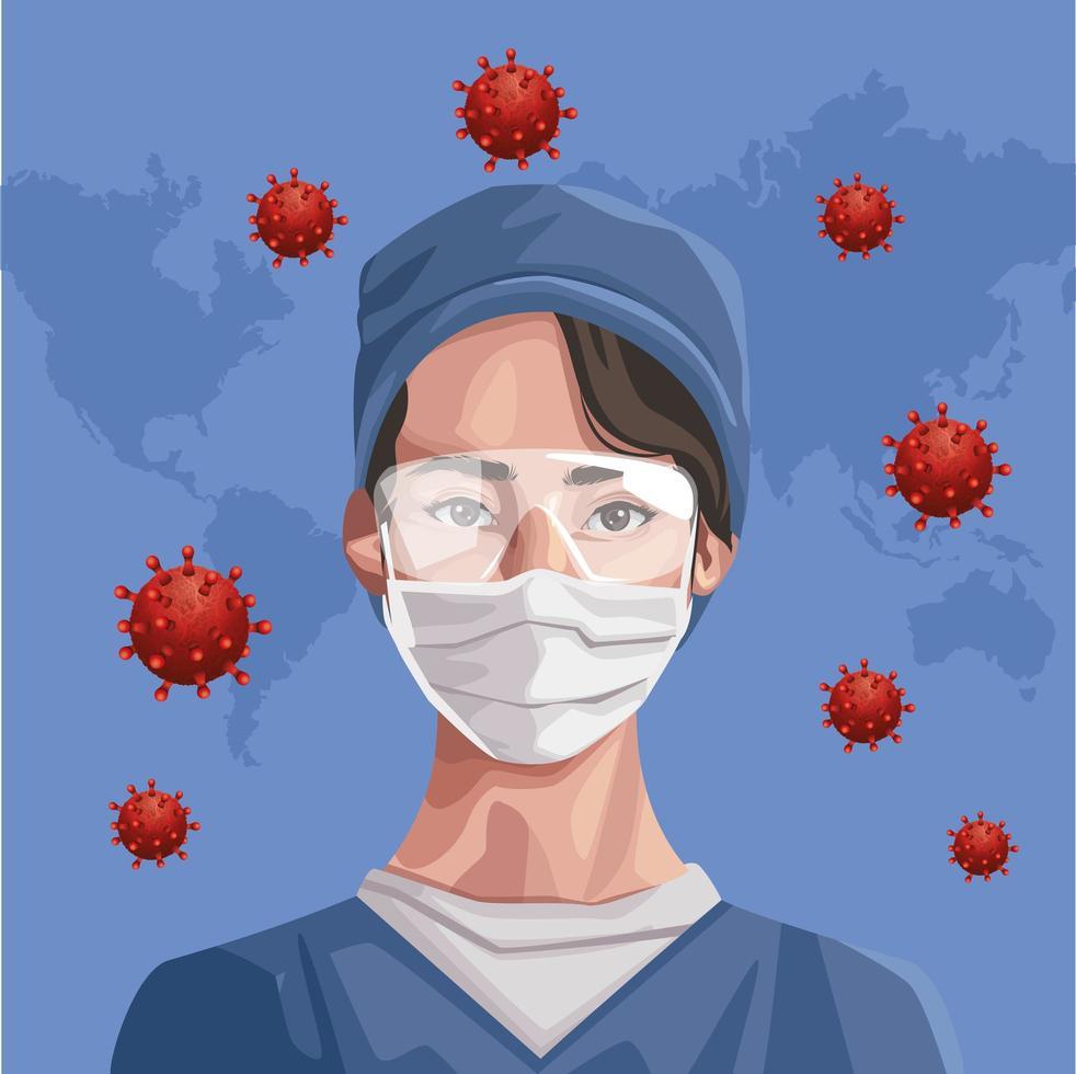 Krankenschwester mit Gesichtsmaske mit Kontinenten Covid-19-Schutz vektor