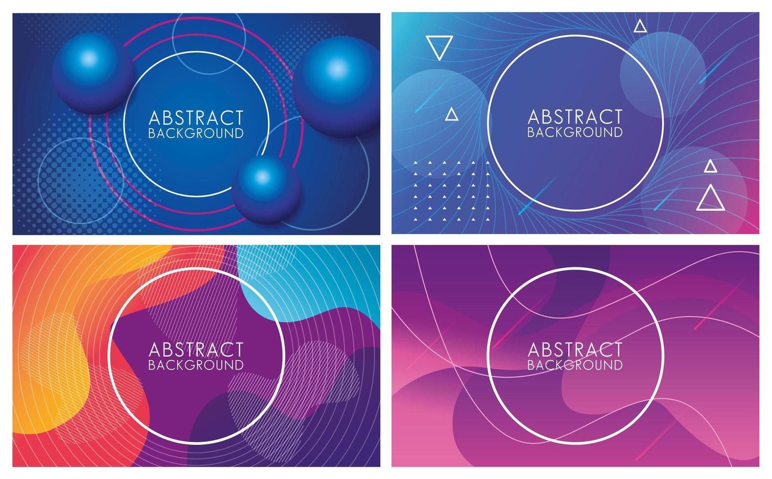 bunte Flüssigkeiten setzen abstrakte Hintergründe vektor