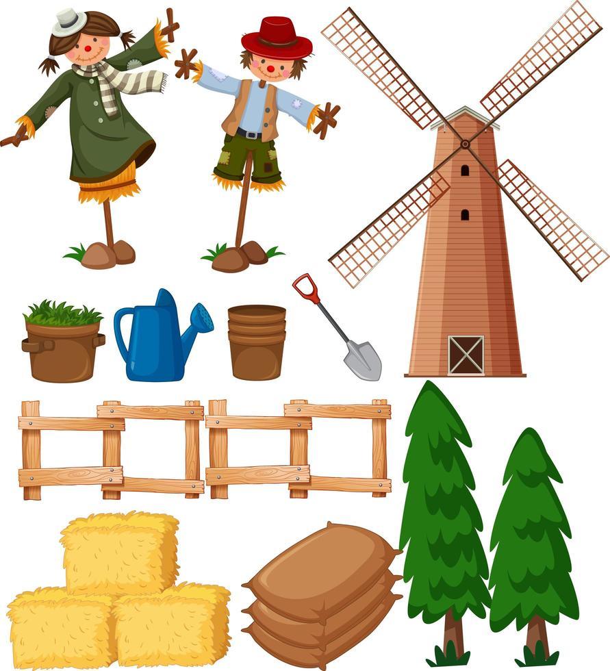Set von landwirtschaftlichen Gegenständen mit Vogelscheuchen und Windmühle vektor