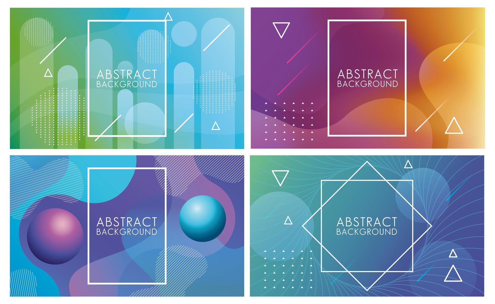 Flüssigkeitssatz abstrakter Hintergründe in verschiedenen Farben vektor
