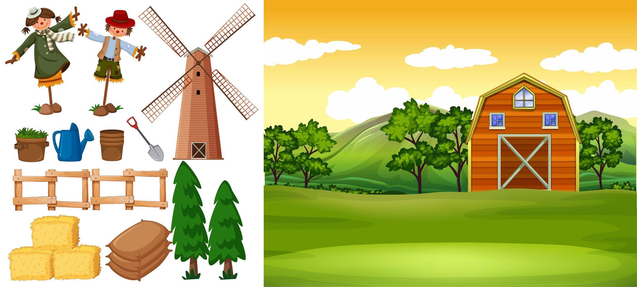 Bauernhofszene mit Scheune und anderen landwirtschaftlichen Gegenständen vektor