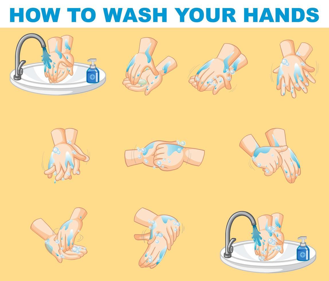 Schritt-für-Schritt-Poster, das erklärt, wie man Hände wäscht vektor
