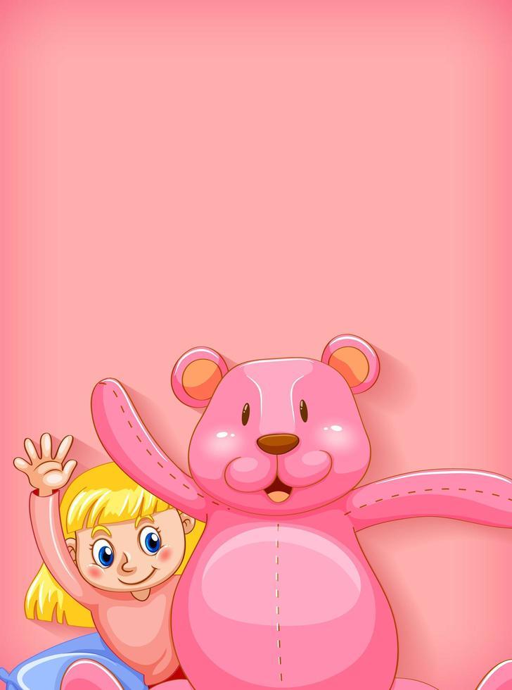 Mädchen und rosa Teddybär auf Pinke vektor