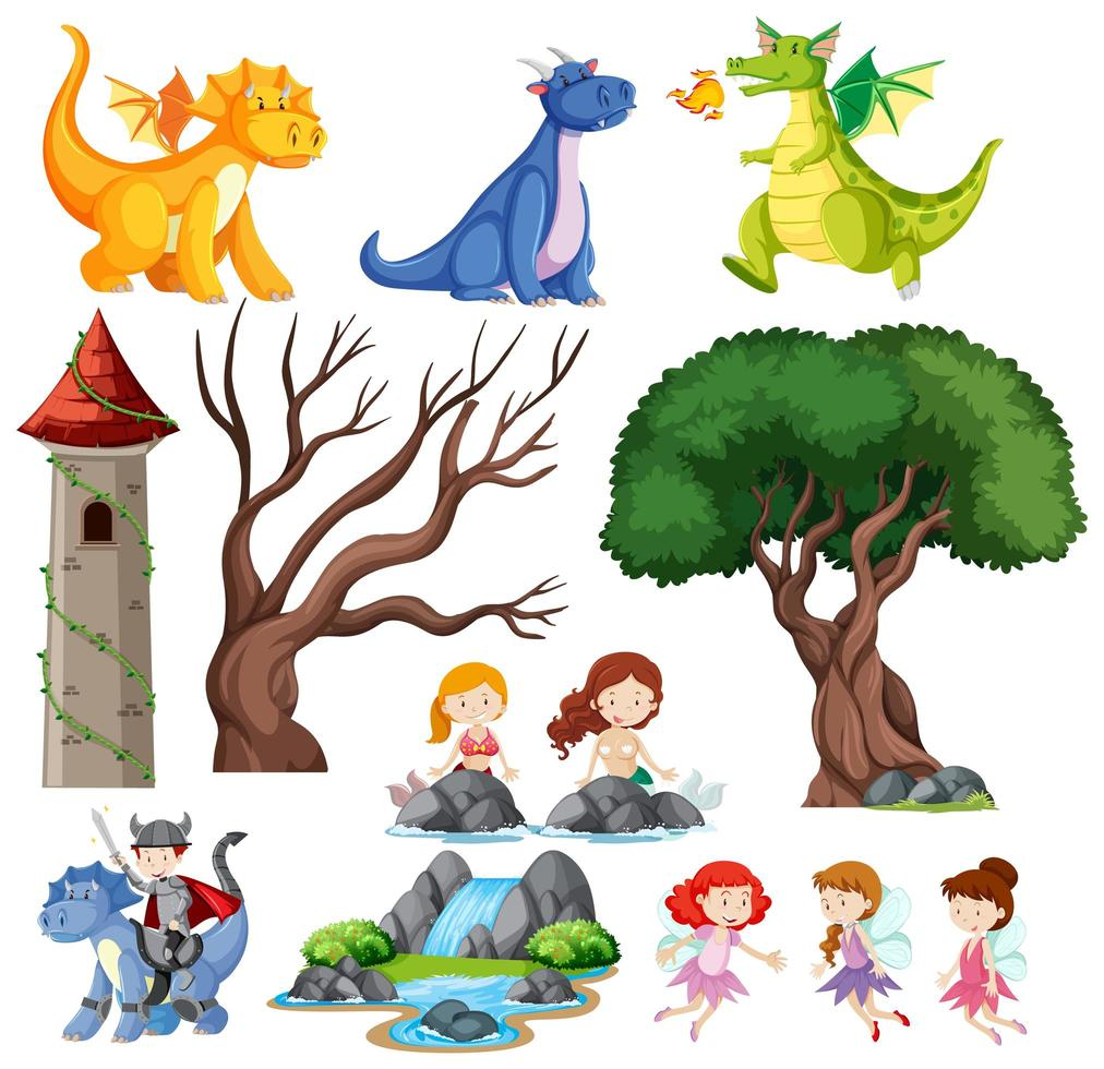 saga barn, slott och dragon set vektor