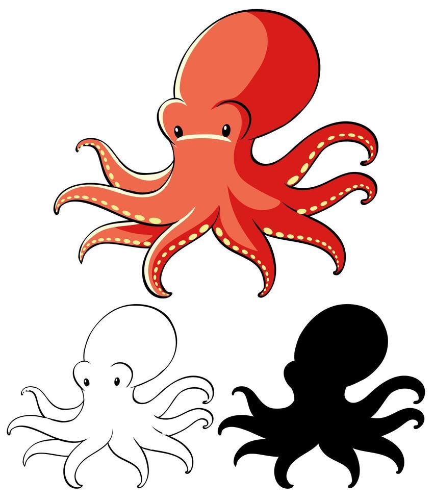 Satz Oktopus-Cartoon vektor