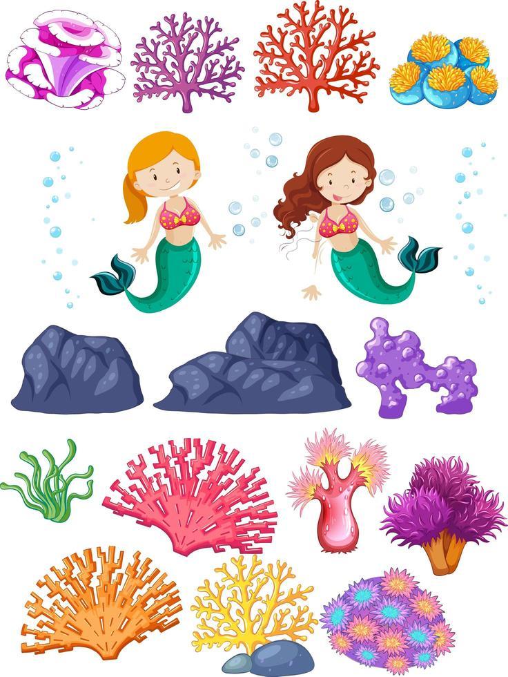 Satz Meerjungfrauen und Korallenriffe auf Weiß vektor