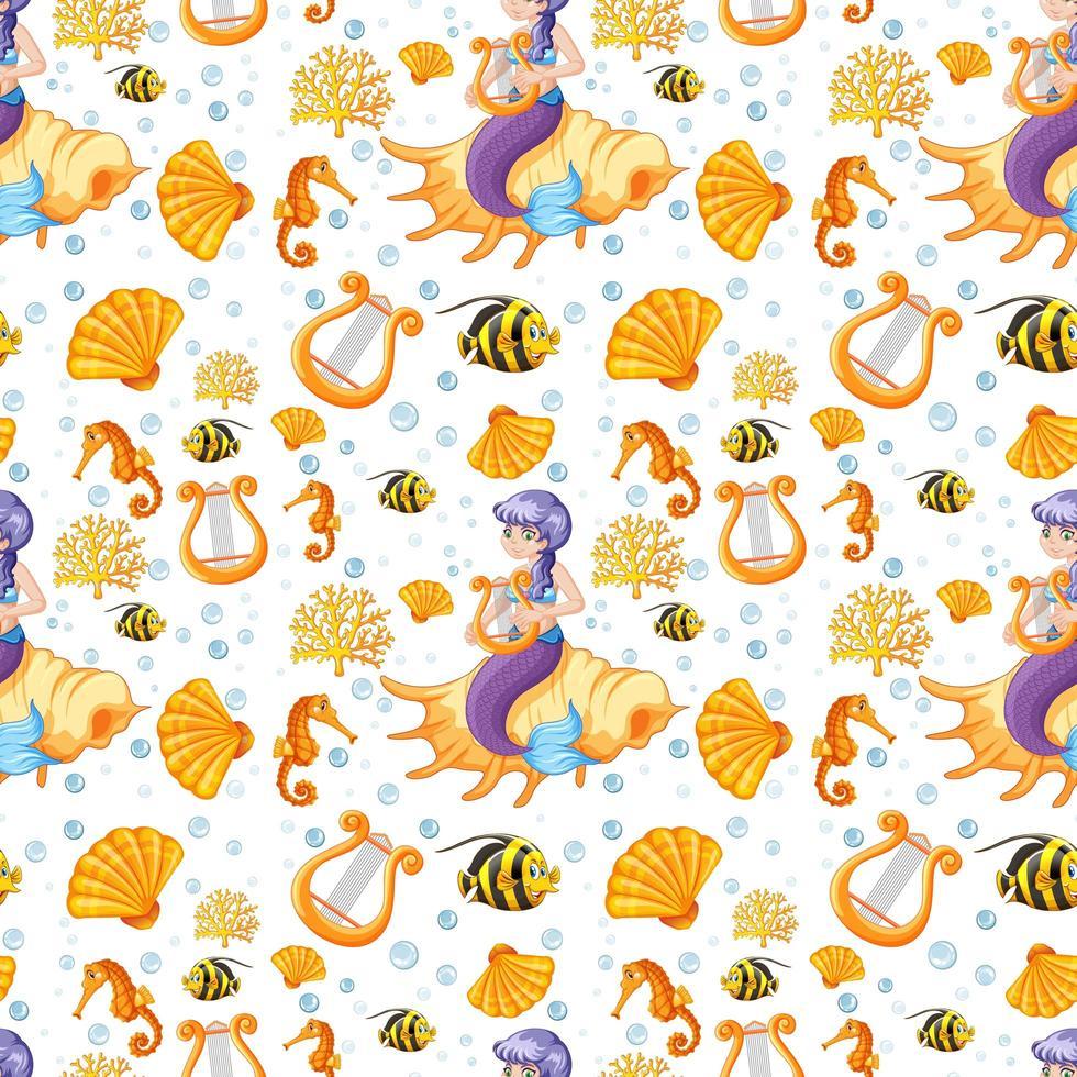 sjöjungfru och havet djur tecknad stil sömlösa mönster vektor
