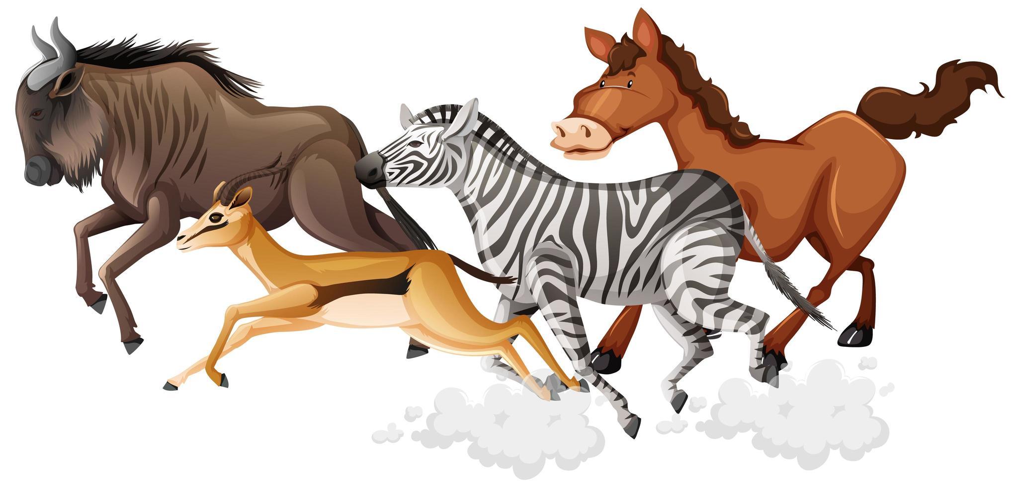 wilde laufende Tiere gruppieren Karikaturstil vektor